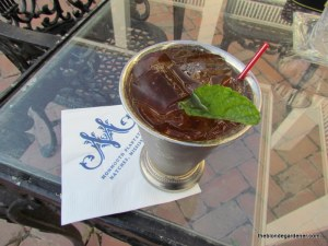 mint julep at the Monmouth plantation