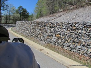 rock retaining wall, road to oark