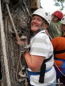Brenda holding on, zipline