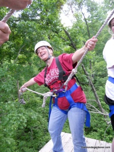 Laurie showing out, zipline