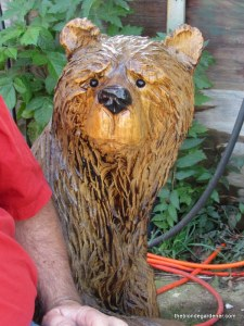 chainsaw art,  motorcycle, alpena