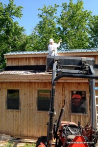 Filling the roof with topsoil, perlite, and compost  https://theblondegardener.com/2015/08/01/chicken-coop-with-living-roof/
